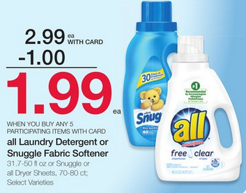 All Laundry Detergent or Snuggle 70-80 Count Dryer Sheets ...