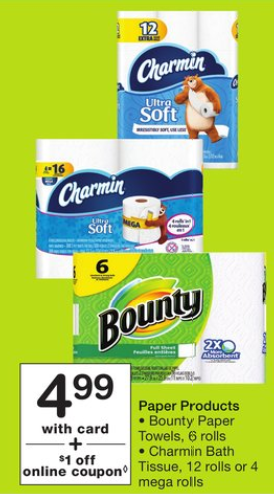 6 Rolls Of Bounty Paper Towels Or 12 Rolls Of Charmin For